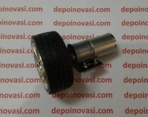 Motor DC Geared 12V 440 RPM komplit Roda dan Pangkon