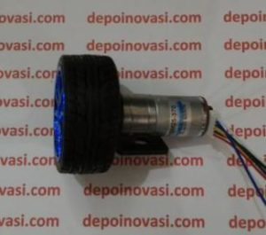 Motor DC Geared 12V 600 RPM komplit Encoder Roda dan Pangkon